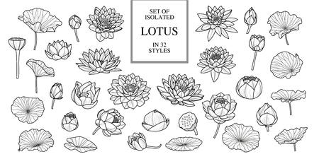 Zestaw na białym tle lotosu w stylu 32. Czarny kontur. Ręcznie rysowane styl. Ilustracja wektorowa