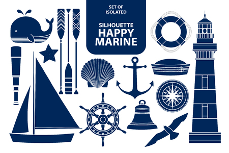 Set of isolated silhouette happy marines in dark blue outline and white plane style. Vector illustration. Иллюстрация