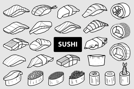 Set of 25 isolated sushi and roll in black outline and white plane. Cute japanese food illustration hand drawn style.
