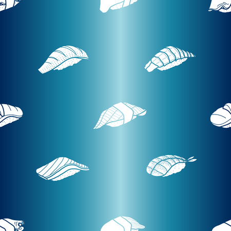 metalic: White silhouatte sushi on metalic blue background. Cute japanese food illustration hand drawn style. Seamless patterm.