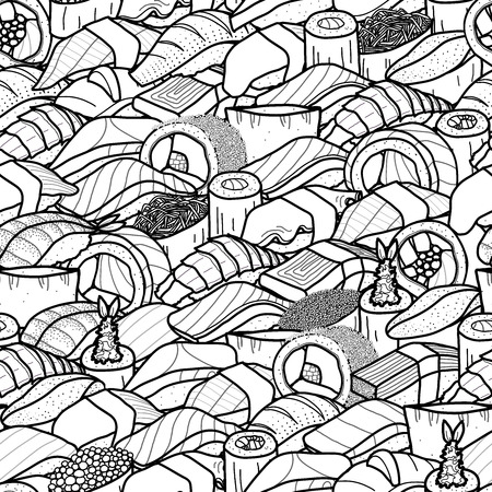 Plenty of sushi and roll in black outline and white plane. Cute japanese food illustration hand drawn style. Seamless patterm Illustration