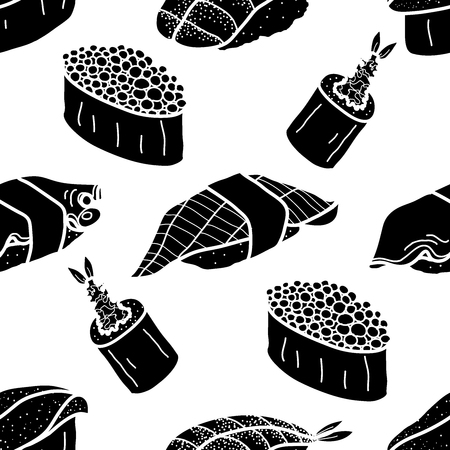 6 silhouette sushi and roll on white blackground. Cute japanese food illustration hand drawn style. Seamless patterm.