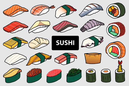 Set of 25 isolated colorful sushi and roll. Cute japanese food illustration hand drawn style.