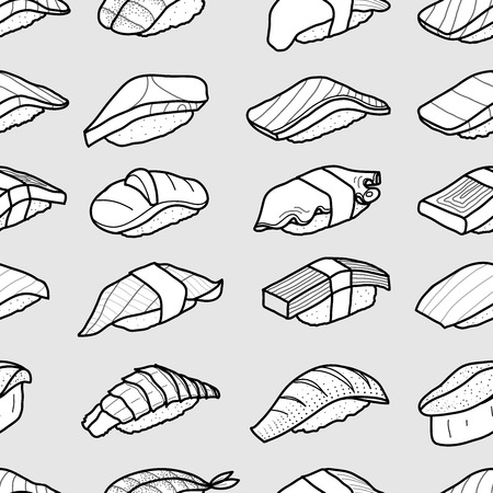A lot of sushi in black outline array on light grey background. Cute japanese food illustration hand drawn style. Seamless patterm. Illustration