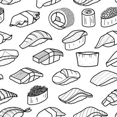 A lot of sushi in black outline random on white background. Cute japanese food illustration hand drawn style. Seamless pattern design. Illustration