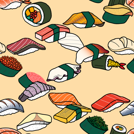 Colorful sushi lines weave across together in pastel pink background. Cute japanese food illustration hand drawn style. Seamless patterm.