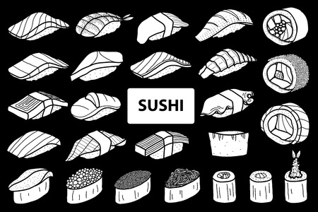 Set of 25 isolated white silhouette sushi and roll. Cute japanese food illustration hand drawn style.