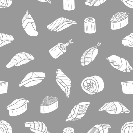 White silhouette sushi random on gray background. Cute japanese food illustration hand drawn style. Seamless patterm.