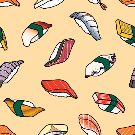 A lot of colorful sushi random on pastel pink background. Cute japanese food illustration hand drawn style. Seamless pattern design.