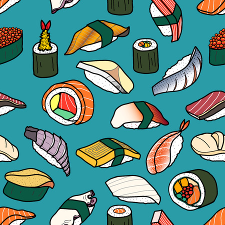 Colorful sushi random on vintage blue background. Cute japanese food illustration hand drawn style. Seamless patterm.