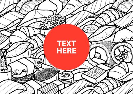 たくさんの寿司と黒のアウトラインと白い面でロールの中央にテキストの付いた赤い丸は。カバー、ポスターやペーパー プレート マット デザイン  イラスト・ベクター素材