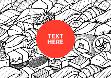 Red circle with text at the center of plenty of sushi and roll in black outline and white plane. Cover, poster or  paper plate mat design. Cute japanese food illustration hand drawn style.