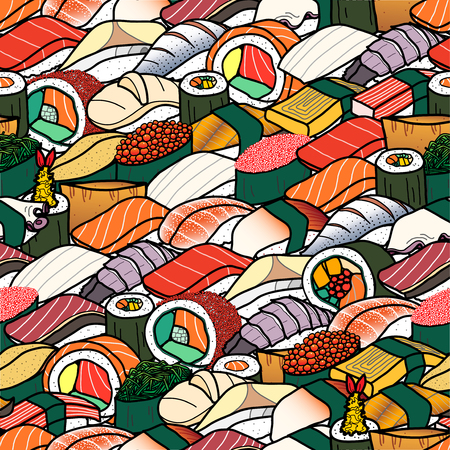 Plenty of colorful sushi and roll. Cute japanese food illustration hand drawn style. Seamless patterm. Illustration