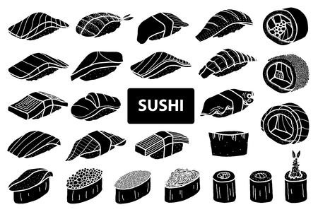Set of 25 isolated silhouette sushi and roll. Cute japanese food illustration hand drawn style.