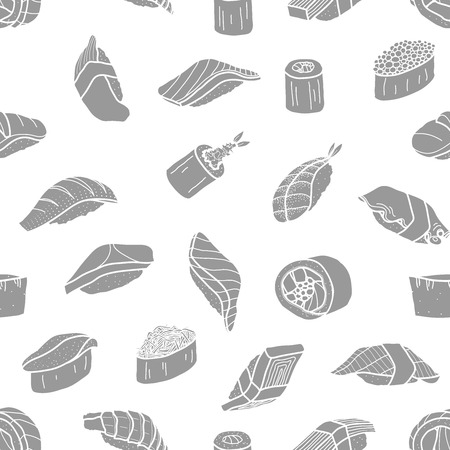Grey silhouette sushi random on white background. Cute japanese food illustration hand drawn style. Seamless patterm.