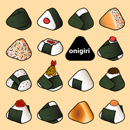 15 styles of isolated colorful onigiri on pastel red background. Japanese rice balls with nori seaweed in hand drawn style. Vector illustration. Vektorové ilustrace