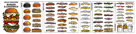 Set of hand drawn style isolated ingredients for build your own burger and sandwich  イラスト・ベクター素材