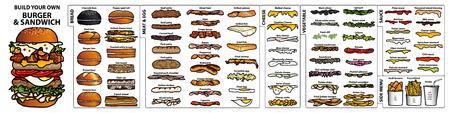 Conjunto de ingredientes aislados estilo dibujado a mano para construir su propia hamburguesa y sándwich Ilustración de vector