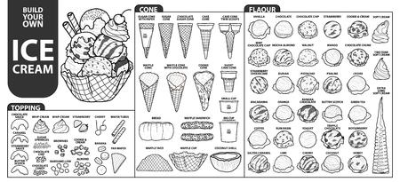 セットはビルドのアイスクリームのすべての部分に独自のスタイルを分離しました。白い背景に黒のアウトラインと白い面で描かれたかわいい手で