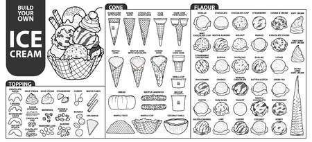 Set of isolated all part of ice cream for build your own style. Cute hand drawn in black outline and white plane on white background.