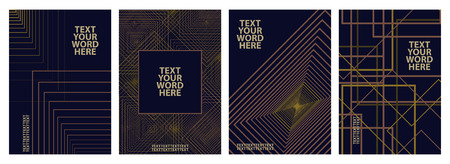 Set of 4 minimal geometric graphic covers design. Simple poster template rectangle style in formal tone as dark blue, pink and yellow. Illustration