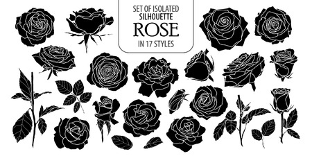 Set of isolated rose in 17 styles. Cute flower illustration in hand drawn style. Presented in silhouette on white background.