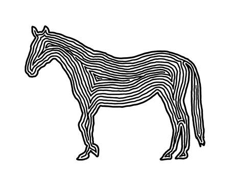 A horse illustration icon in black offset line. Fingerprint style for logo or background design.