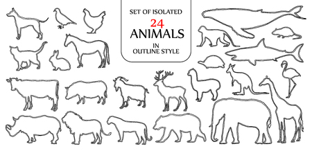 격리 된 24 동물 그림 로고, 아이콘 또는 배경 디자인 텍스트에 대 한 빈 공간에 대 한 이중 검은 윤곽선 스타일의 집합입니다. 일러스트