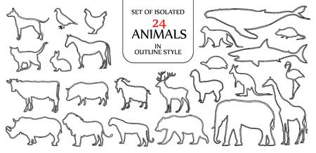 Reeks van geïsoleerde 24 dierenillustratie in dubbele zwarte overzichtsstijl voor embleem, pictogram of achtergrondontwerp met lege ruimte voor tekst.