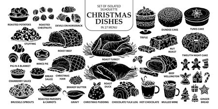 27 メニューで孤立したシルエット伝統的なクリスマス料理のセットです。かわいい手は、白い背景でアウトラインを白と黒の平面のベクトル図を描