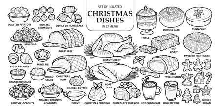 Set of isolated traditional Christmas dishes in 27 menu. Cute hand drawn vector illustration in dark gray outline and white plane on white background. Çizim