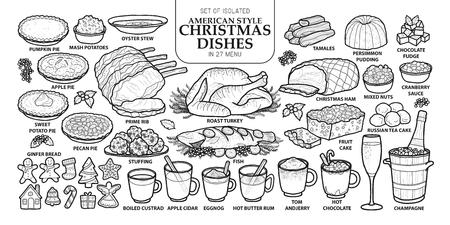 Set di piatti tradizionali di Natale isolato. Vettoriali