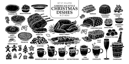 Set of isolated traditional Christmas dishes.