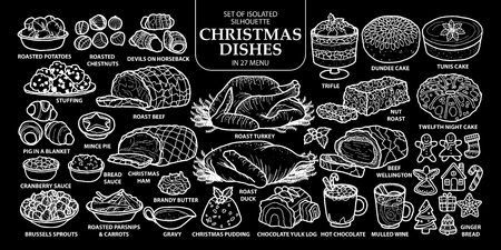Set of isolated traditional English style Christmas dishes in 27 menu.