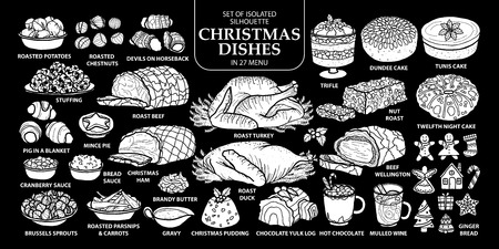 Set of isolated white silhouette traditional English style Christmas dishes in 27 menu. Çizim