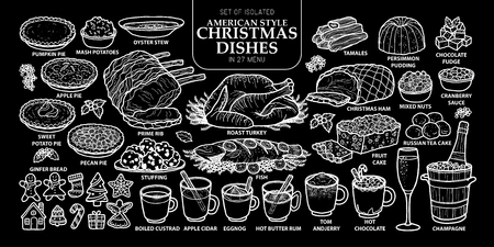 Set of isolated traditional American style Christmas dishes in 27 menu. Illustration