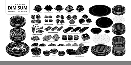 Set of isolated silhouette Chinese food, Dim Sum for build your own. Cute hand drawn food vector illustration in white outline and black plane on white background.