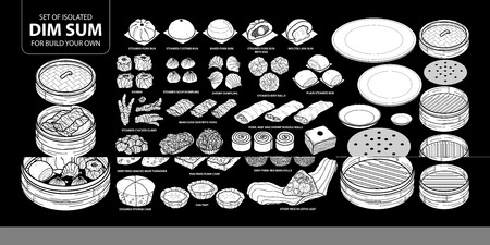 Set of isolated white silhouette Chinese food, Dim Sum for build your own. Cute hand drawn food vector illustration in white plane and no outline on black background. Illustration
