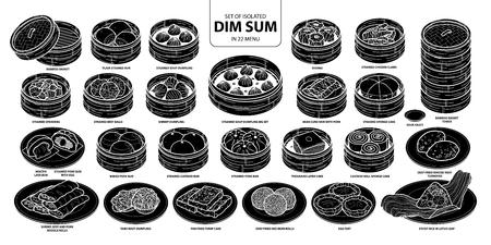 Ensemble de nourriture chinoise silhouette isolée, Dim Sum dans 22 menu. Illustration vectorielle de nourriture dessinée à la main mignonne dans le contour blanc et avion noir sur fond blanc.