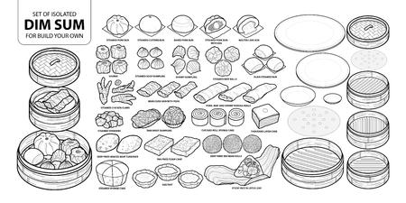 Conjunto de comida china aislada, Dim Sum para construir su propio. Ilustración de vector de comida dibujado a mano lindo en contorno negro y plano blanco sobre fondo blanco.
