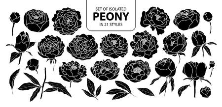 Set di peonia silhouette isolato in 21 stili. Illustrazione disegnata a mano sveglia di vettore del fiore nel profilo bianco e nell'aereo nero su fondo nero.