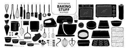 Cute hand drawn kitchen tools vector illustration in black plane and white outline on white background.