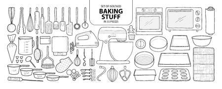 Leuke hand getrokken keukengereedschap vectorillustratie in zwart overzicht en wit vliegtuig op witte achtergrond.