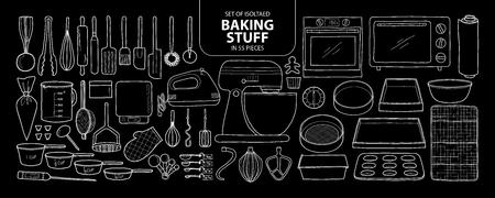 Set van geïsoleerde bakspullen in 55 stuks. Schattig hand getekend keukengereedschap vector illustratie alleen wit overzicht op zwarte achtergrond.