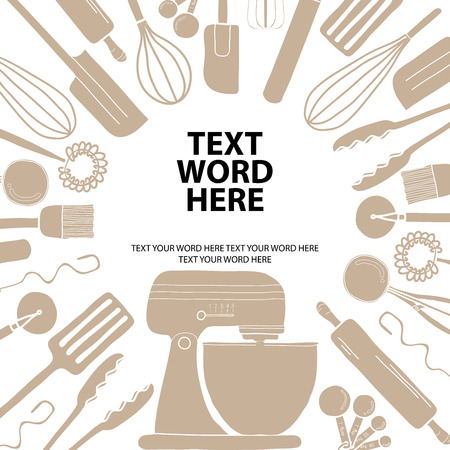 Poster design for cooking or baking in simple style with space for text your word. Background template for advertisement or cover. Black text surrounding by silhouette baking tools.