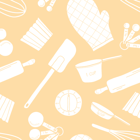 Seamless pattern of baking tools in white silhouette random on pastel pink background. Cute vector illustration of cooking stuff in hand drawn style for background design.