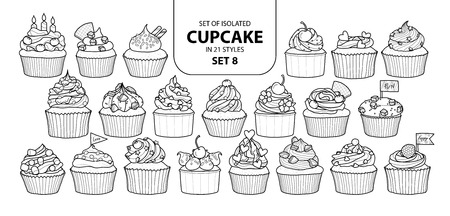 Set of isolated cupcake in 21 styles. Cute hand drawn dessert in black and white outline on white background.  イラスト・ベクター素材