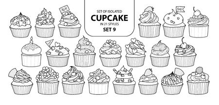 Set of isolated cupcake in 21 styles. Cute hand drawn dessert in black and white outline on white background. Stock Illustratie