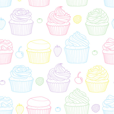 6 styles of cupcake and fruits random on white background. Cute hand drawn seamless pattern of dessert in colorful pastel outline. Иллюстрация