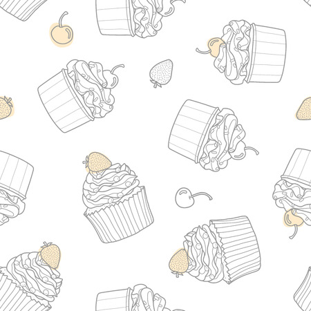 2 styles of cupcake random on white background with cherry and strawberry. Cute hand drawn seamless pattern of dessert in gray outline and pastel pink plane. Ilustrace